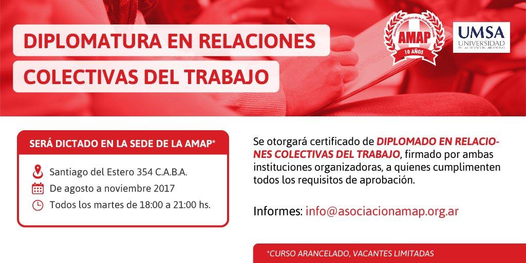 AMAP dictará la Diplomatura en Relaciones Colectivas del Trabajo junto con la UMSA