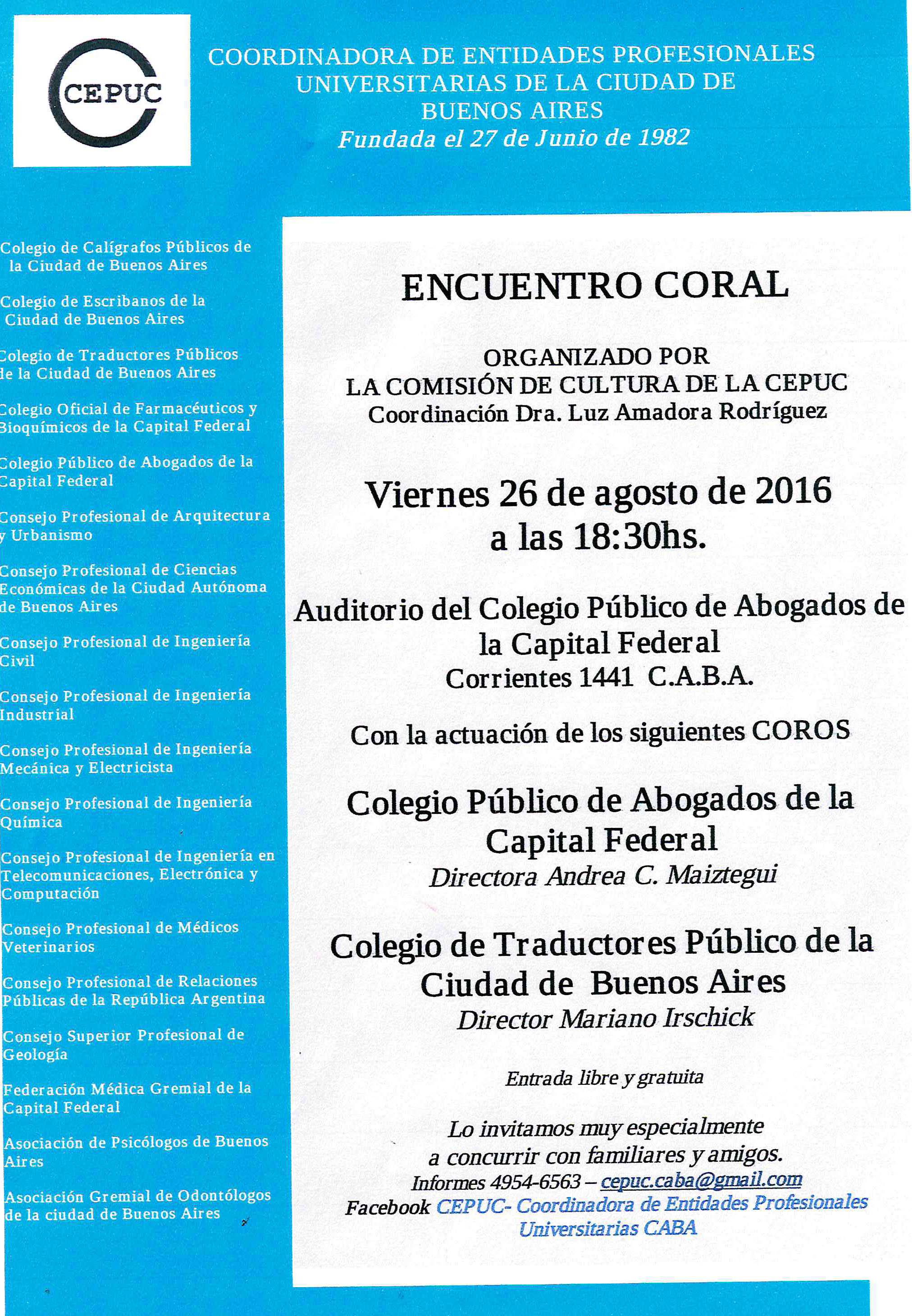 Encuentro coral organizado por la CEPUC